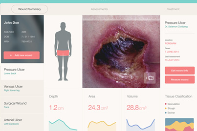inSight Wound Summary: displays patient's wound status in a dashboard. Contains information on 3d wound measurements, healing rates, and wound bed compositions.